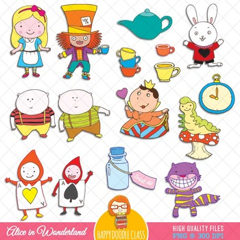 Alice in Wonderland Clip Art Bundle. 62 pieces.