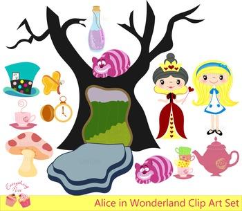 Alice in Wonderland Clip Art Set