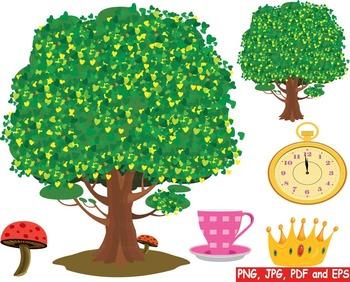 Alice in Wonderland Clip art queen of hearts rabbit tree Magic Adventures -173