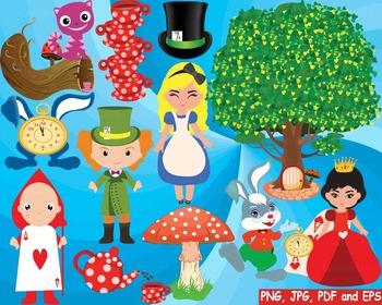 Alice in Wonderland Clip art queen of hearts rabbit tree M