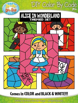 Alice in Wonderland Color By Code Clipart {Zip-A-Dee-Doo-Dah Designs}