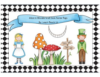 Alice in Wonderland Desk Name Tags K-2