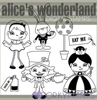 Alice in Wonderland Black Line Clip Art