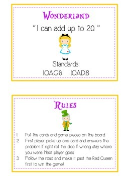 Alice in Wonderland Math Folder Game - Common Core - Adding 10 to 20