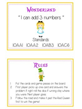 Alice in Wonderland Math Folder Game - Common Core - Adding Three 3 Numbers