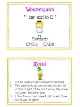 Alice in Wonderland Math Folder Game - Common Core - Adding to 10