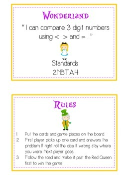 Alice in Wonderland Math Folder Game - Common Core - Comparing 3 Digit Numbers