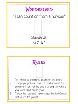 Alice in Wonderland Math Folder Game - Common Core - Counting On From Number