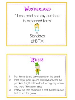 Alice in Wonderland Math Folder Game - Common Core - Expanded Form