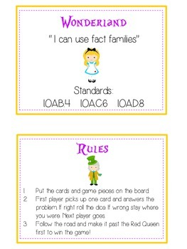 Alice in Wonderland Math Folder Game - Common Core - Fact Families