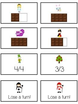 Alice in Wonderland Math Folder Game - Common Core - Fractions