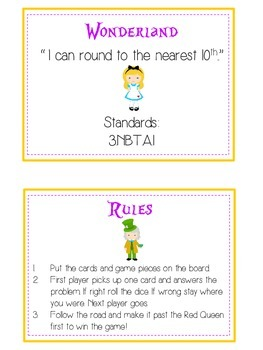 Alice in Wonderland Math Folder Game - Common Core - Rounding to Nearest 10th