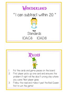 Alice in Wonderland Math Folder Game - Common Core - Subtracting 10 to 20