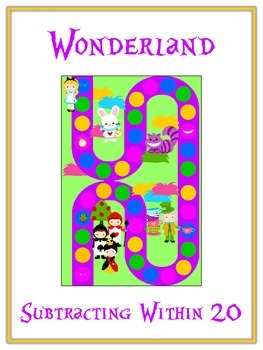 Alice in Wonderland Math Folder Game - Common Core - Subtr