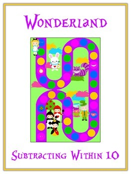 Alice in Wonderland Math Folder Game - Common Core - Subtracting within 10