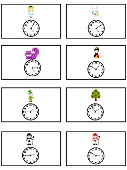 Alice in Wonderland Math Folder Game - Common Core - Telling Time 5 Minutes