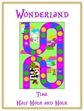 Alice in Wonderland Math Folder Game - Common Core - Telling Time Half Hour Hour