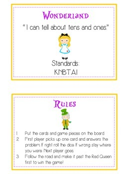 Alice in Wonderland Math Folder Game - Common Core - Tens and Ones - Place Value
