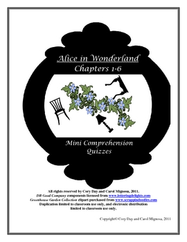 Alice in Wonderland Mini Comprehension Quizzes Chs. 1-6
