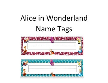 Alice in Wonderland Name Tags