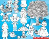 Alice in Wonderland Outline Clip art black shape coloring page line rabbit -175
