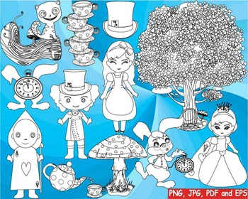 Alice in Wonderland Outline Clip art black shape coloring page line rabbit -175