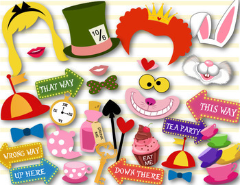 Alice in Wonderland Party Digital Photo Booth Props Mad Ha