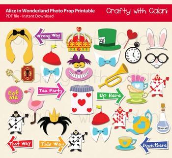Alice in Wonderland Photo Booth Prop - DIY Party & Classroom Games Printable