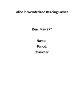 Alice in Wonderland Reading Packet with Standards Based Questions