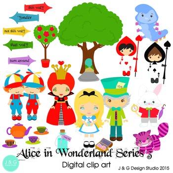Alice in Wonderland Series 3, Children Digital Clipart