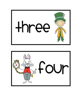 Alice in Wonderland Theme Table Numbers