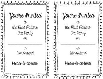 Alice in Wonderland Tea Party Invitations