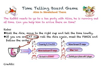 Alice in Wonderland Theme Time telling board game