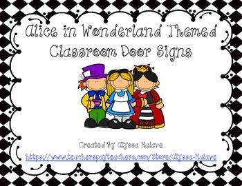 Alice in Wonderland Themed Classroom Door Signs