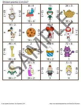 Alice in Wonderland Themed - Division Magic Square Puzzle
