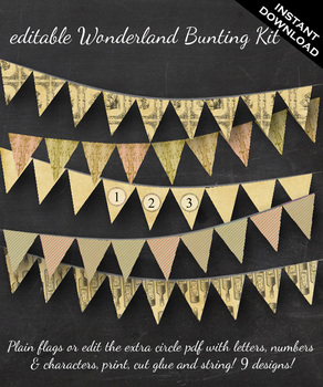 Bunting - Alice in Wonderland Through the Looking Glass Bunting -Editable Banner