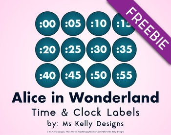Alice in Wonderland Time and Clock Labels