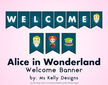 Alice in Wonderland Welcome Banner for Classroom