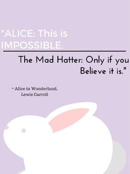 Alice in Wonderland White Rabbit Growth Mindset Poster Classroom Decor Theme