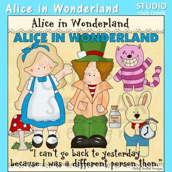 Alice in Wonderland clip art C. Seslar Chesire Cat Mad Hatter