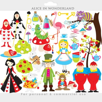 Alice in Wonderland clipart - clip art mad hatter queen of hearts cheshire cat