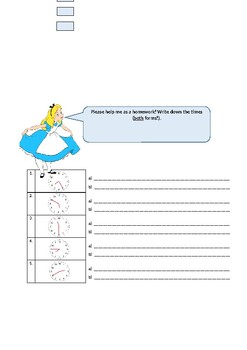 Alice in Wonderland time and clock worksheet plus solutions