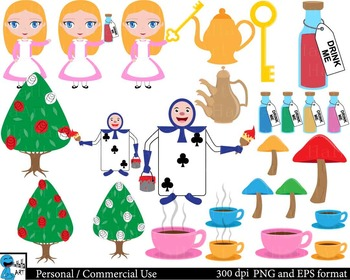 Alice in wanderland  Clip Art Digital Files Personal Commercial Use cod204
