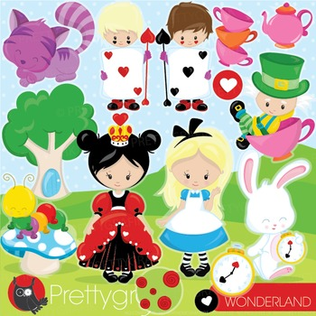 Alice in wonderland clipart commercial use, vector graphics, digital - CL946