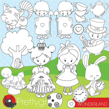 Alice in wonderland stamps commercial use, vector graphics, images  - DS946