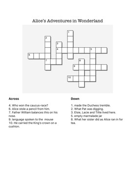 Alice's Adventures Word Search