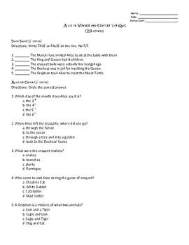 Alice's Adventures in Wonderland Chapters 7-9 Quiz