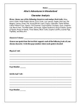 Alice's Adventures in Wonderland Character Analysis Activity - Lewis Carroll