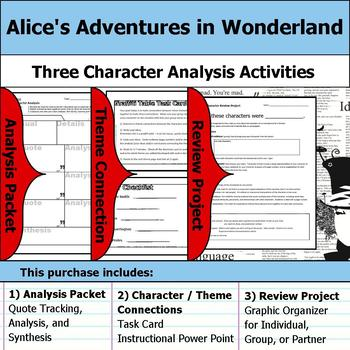 Alice's Adventures in Wonderland - Character Analysis Packet, Theme, & Project