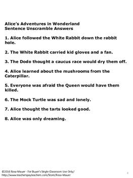 Alice's Adventures in Wonderland FREE Sentence Unscramble